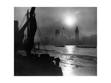 Sonnenuntergang an der Themse in London, 1930er Jahre Photographic Print by  Scherl