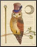 Steampunk Owl II Mounted Print by Elyse DeNeige