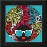 Black Head Woman With Strange Pattern Hair Prints by  panova