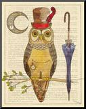 Steampunk Owl I Mounted Print by Elyse DeNeige