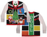 Long Sleeve: Ugly Noel Xmas Vest w/Bow Tie Tee T-shirts manches longues