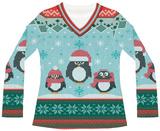 Womens Long Sleeve: Winter Penguin Sweater Tee T-shirts