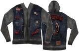 Long Sleeve: Zip Hoodie Biker Costume Top (Front/Back) Sweat à capuche à fermeture à glissière