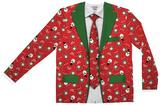 Long Sleeve: Red Xmas Matching Suit & Tie Tee - Tişört