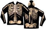 Long Sleeve: Zip Hoodie Skeleton Costume Top (Front/Back) Sweat à capuche à fermeture à glissière