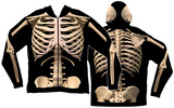 Long Sleeve: Zip Hoodie Skeleton Costume Top (Front/Back) Hettejakke