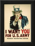 I Want You for the U.S. Army Recruitment Poster Framed Giclee Print by James Montgomery Flagg