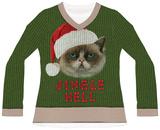 Women's L/S: Jingle Hell Cat Ugly Xmas Sweater Tee Vêtement