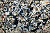Silver On Black Mounted Print by Jackson Pollock