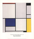 Composition I with Red, Yellow and Blue Prints by Piet Mondrian