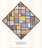 Composition in Diamond Shape Collectable Print by Piet Mondrian