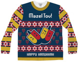 Long Sleeve: Mazel Tov Ugly Hanukkah Sweater Tee T-skjorter