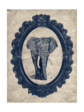 Framed Elephant in Navy Giclee Print