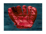 Baseball Glove - Red and Teal Giclee Print