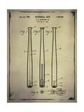 Baseball Bat Patent Buff Giclee Print