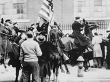 Mounted Police Clashing with Strikers, Outside an Electrical Plant in Philadelphia Photo