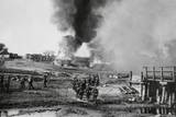 German Infantry Advancing on a Burning Village in the Soviet Union (Russia) Prints