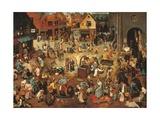Pieter Bruegel the Elder - Battle Between Carnival, or Mardi Gras, and Lent - Reprodüksiyon