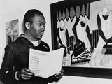 Coast Guardsman Jacob Lawrence, with His Paintings at the Institute of Modern Art in Boston in 1945 Photo