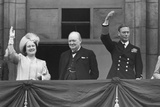 British Royal Family Waves to Crowds on Victory in Europe Day, May 8, 1945 Photo