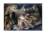 Young Boys Bathing on the River Beach Art by Armando Spadini