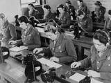 British Enlisted Women Learning Morse Code in Classroom, Ca. 1942 Photo