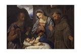 Nativity with Saints Jerome and Francis, 1527 Print by Giovanni Girolamo Savoldo