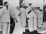 Lord Louis Mountbatten Handing over Power to Mahomed Ali Jinnah on Aug. 14, 1947 Photo