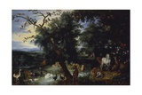 Landscape with Many Animals and Adam and Eve Posters by Jan Snellinck