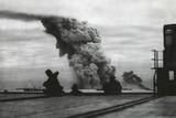 Smoke from a Merchant Ship Bombed in an Allied Convoy to the Soviet Union (Russia) - Photo