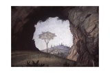 Landscape, Rock Arch Frames a Tree and City Giclee Print by Andrea Mantegna