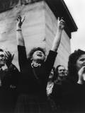 Parisian Woman Cheers at Liberation Celebration, August 29, 1944, World War 2 Photo