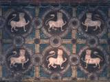 Fresco of Lions on Decorative Ground, 11th C Foto