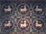 Fresco of Lions on Decorative Ground, 11th C Foto