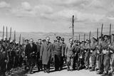 U.S. Gen. James Van Fleet and War Minister Kanellopoulos Walk Between Lines of Soldiers Posters