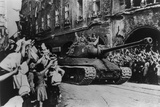 Crowd Cheering Arrival of Liberating Soviet Troops in a Tank, Prague, Czechoslovakia Photo
