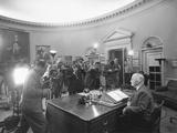 President Harry Truman before a Radio and Television Address on Disarmament. Nov. 7, 1951 Photo