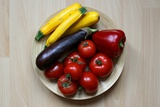 A Plate of Raw Vegetables: Yellow Squas, Eggplant, Tomatoes, Red Peppers and Zucchini Posters