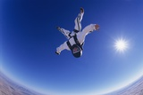 Skydiver Free Falling Upside Down, Portrait, View from Below Poster