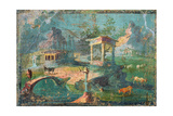 Landscape with Temples, Statues, Herders and Animals, C. 50-79 Poster