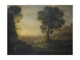 Claude Lorrain - Landscape with Flock of Sheep at the River, 17th C - Reprodüksiyon