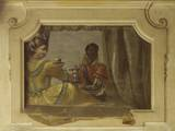 Trompe L'Oeil Fresco of Coffee Served by African Servant, 1770-90 Prints by Costantino Cedini