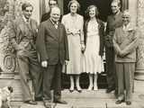 Charlie Chaplin with Winston Churchill and His Family at Chartwell Manor Prints