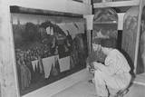 Soldiers of U.S. Army Mfaa Section Examining the Ghent Altarpiece in the Altaussee Mine, 1945 Posters