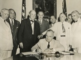 President Harry Truman Signs the Atlantic Pact on July 27, 1949 Photo