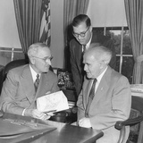 President Harry Truman Meeting with Pm David Ben-Gurion (Seated) and Ambassador Abba Eban of Israel Photo