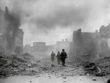 U.S. 3rd Division Infantrymen Searching for Snipers in the Smoldering City of Zweibrucken, Germany Prints