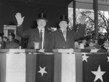 President Harry Truman and Vp Alben Barkley Wave to Cameras During the Inaugural Parade Photo