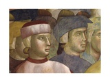 St. Francis Renouncing Belongings, Detail of 2 Heads Posters by  Giotto
