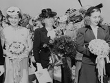 Bess (Center) and Margaret Truman (Right) During Christening Ceremony of Two Naval Airplanes Photo